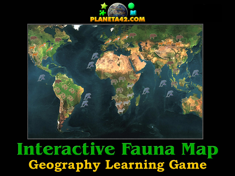World Fauna Map Explorer Geography Learning Game - Online interactive world map