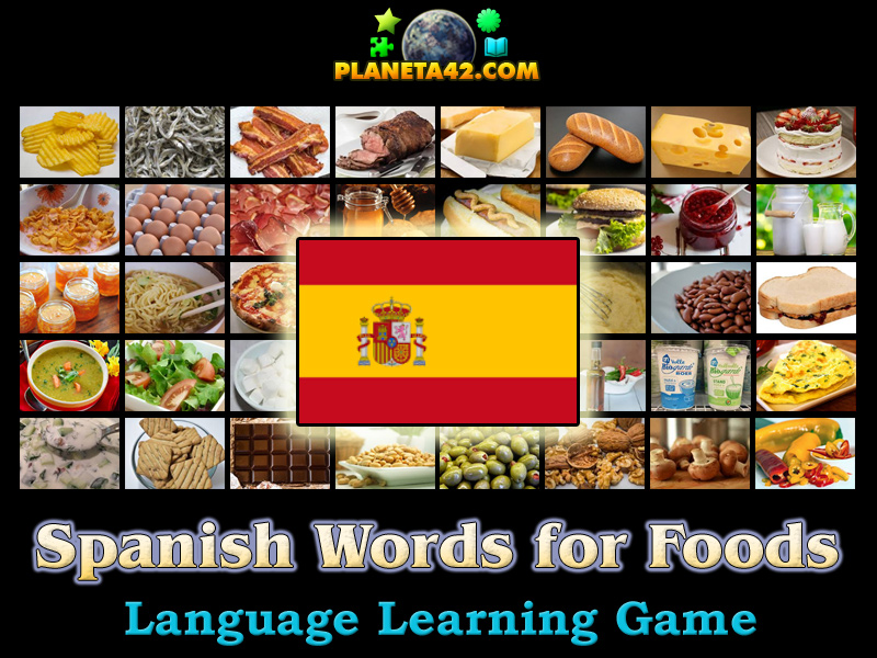 spanish words for foods language learning game