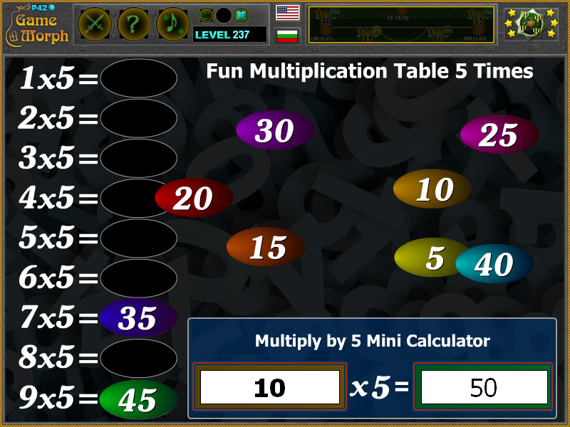 Multiplication Table 5 Times Cool Math Game