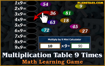 Multiplication Table 9 Times Puzzle