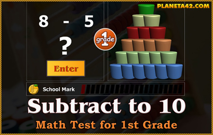 Subtract to 10 Math Test for 1 Grade