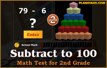 Subtract to 100 Math Test for 2 Grade