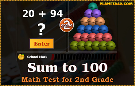 Sum to 100 Math Test for 2 Grade